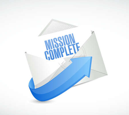 accomplish: mission complete mail sign concept illustration design graphic over white