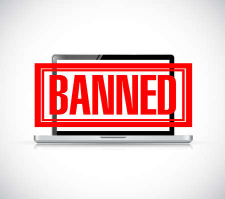 banned stamp over a laptop. illustration design graphic over white Illustration