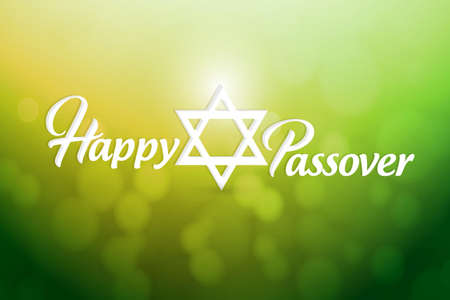 Happy passover sign card illustration design over a green bokeh background