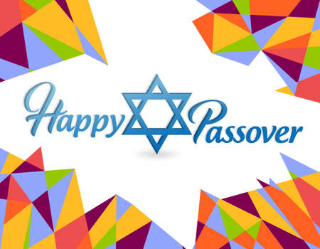 Happy passover sign card illustration design over a colorful background