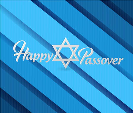 Happy passover sign card illustration design over a blue background