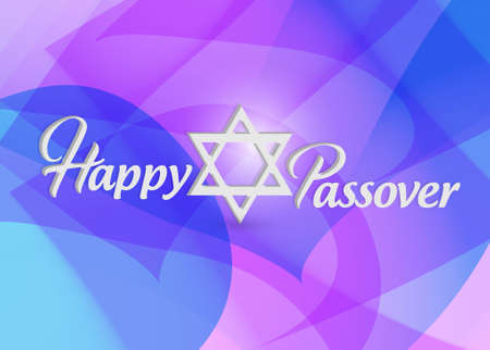 Happy passover sign card illustration design over a purple background