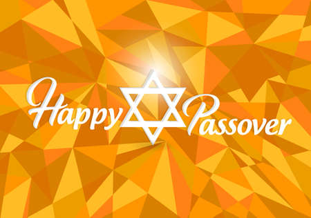 Happy passover card design over an abstract orange illustration background