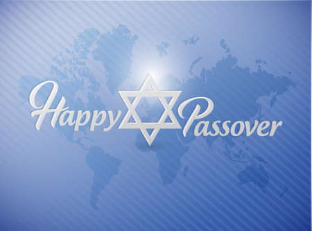 Happy passover sign card illustration design over a world map background