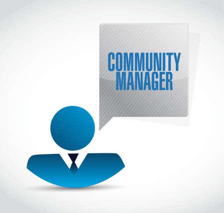 Community Manager businessman sign concept illustration design graphic