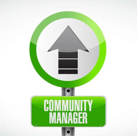 road design: Community Manager road sign concept illustration design graphic Illustration