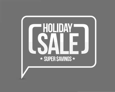 holiday sale, super savings message sign illustration design graphic over grey Çizim