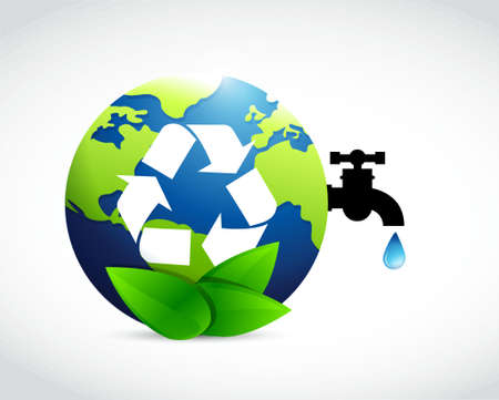 environmental issues: reduce reuse and recycle globe water concept illustration design Illustration