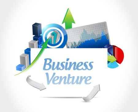 business venture business graphs sign concept illustration design isolated over white Illustration