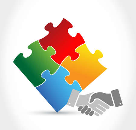 Puzzle handshake unity concept illustration design isolated over white