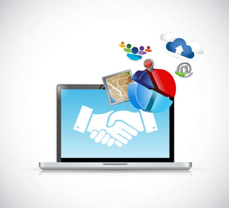 Business agreement handshake icons concept illustration design isolated over white Illusztráció