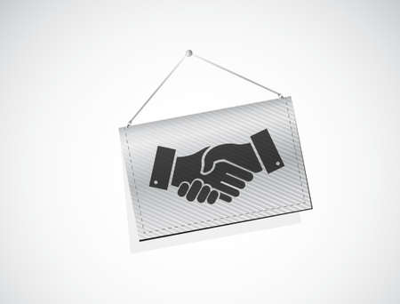 Business agreement handshake banner sign concept illustration design isolated over white Illusztráció