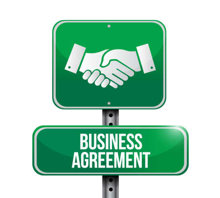 Business agreement handshake road sign concept illustration design isolated over white Illusztráció