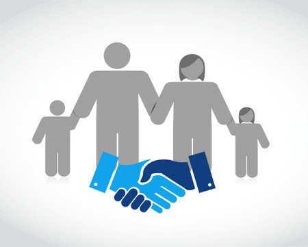 Family agreement handshake concept illustration design isolated over white