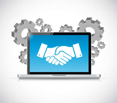 Computer laptop agreement handshake concept illustration design isolated over white Illusztráció