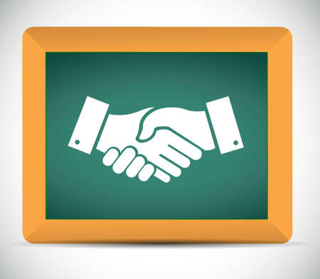 Agreement handshake chalkboard sign concept illustration design isolated over white