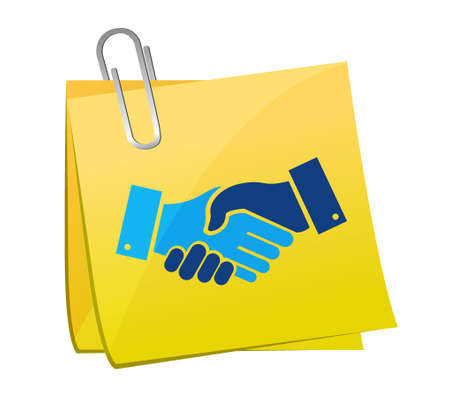 Agreement handshake concept memo post illustration design isolated over white