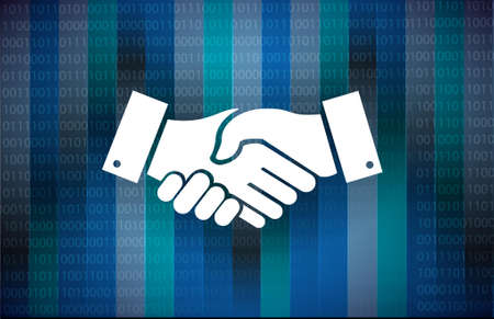 Business agreement handshake binary background concept illustration design isolated over white