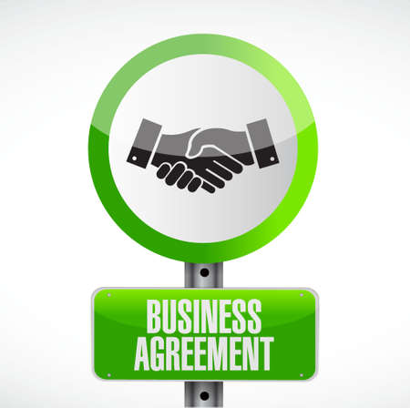 Business agreement handshake sign concept illustration design isolated over white Illusztráció