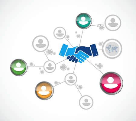 Network business agreement handshake concept illustration design isolated over white