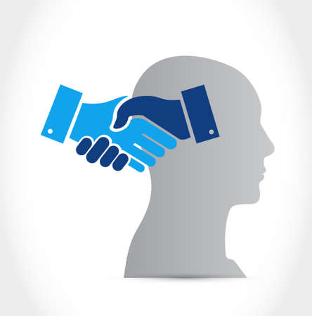 Mental agreement handshake concept illustration design isolated over white