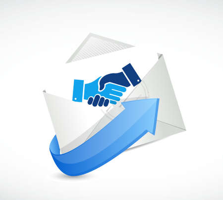 Mail business agreement handshake concept illustration design isolated over white Illusztráció