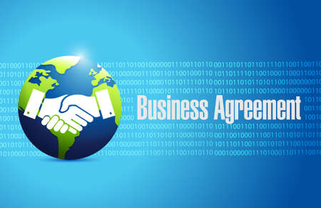 business meeting: Globe business agreement handshake concept illustration design isolated over white
