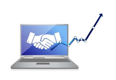 Business computer agreement handshake concept illustration design isolated over white
