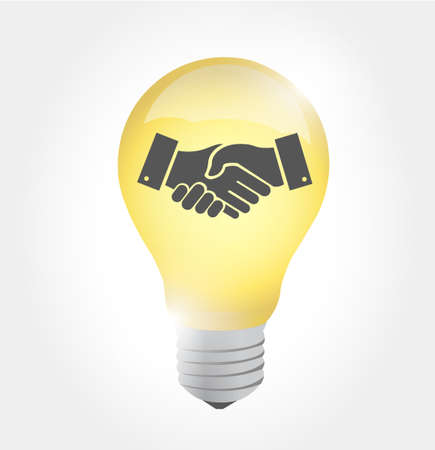 Idea agreement handshake lines concept illustration design isolated over white