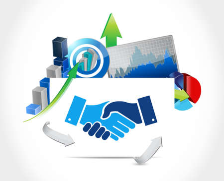 Business agreement handshake graph concept illustration design isolated over white Illusztráció