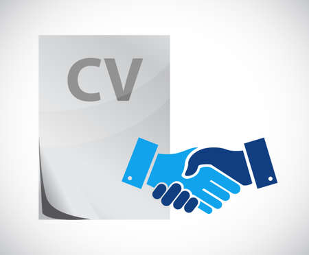 Employment contract agreement handshake concept illustration design isolated over white
