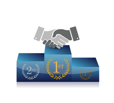 Business podium handshake concept illustration design isolated over white Çizim