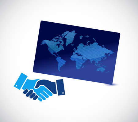Global agreement handshake concept illustration design isolated over white