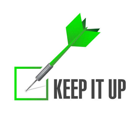 Keep it up check dart sign concept illustration design graphic over white Ilustrace