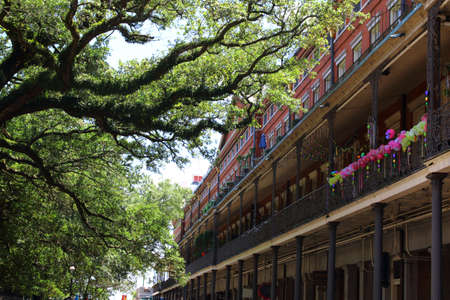 roof windows: New Orleans architecture in bourbon street, french quarter. Editorial