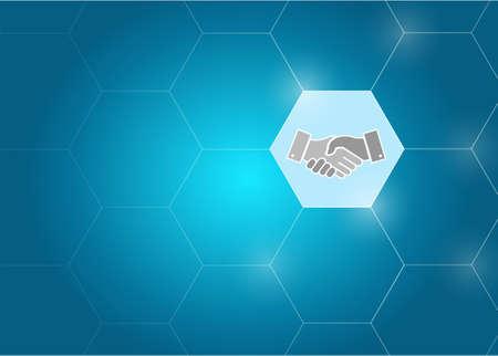 business link diagram handshake concept illustration design graphic
