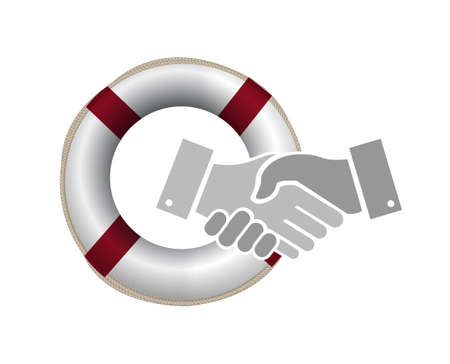 life bouy: sos security handshake concept illustration design graphic