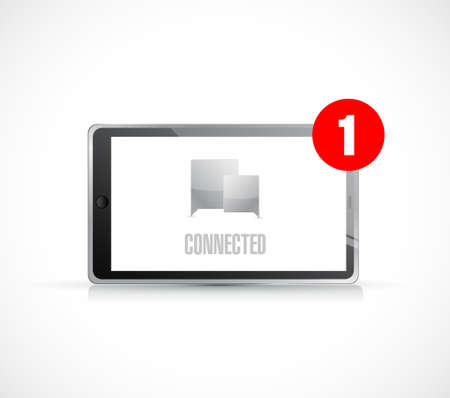 tablet connected communication concept message. illustration isolated over white