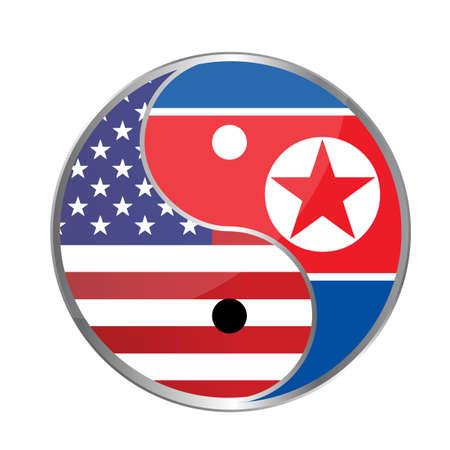 peace concept: United states and north korea peace concept illustration design graphic