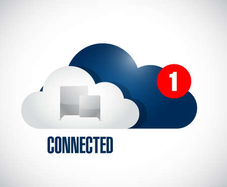 cloud connected communication concept message. illustration isolated over white