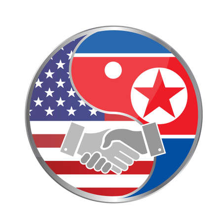 peace concept: United states and north korea peace handshake concept illustration design graphic