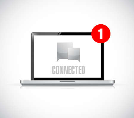 computer connected communication concept message. illustration isolated over white