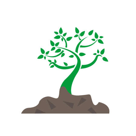 growing tree and soil illustration design graphic isolated over a white background