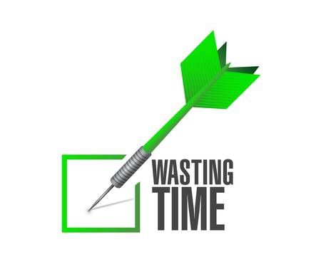 Wasting time check dart sign concept illustration isolated over white