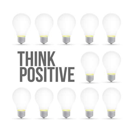 think positive idea light bulb pattern concept illustration design over white