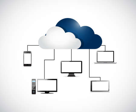 cloud computing electronic network isolated over a white background