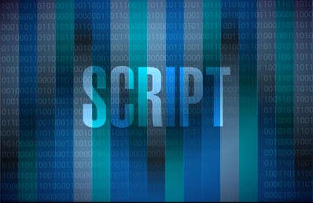 script binary sign concept illustration design over dark background