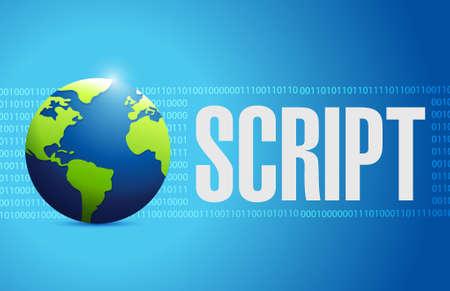 programming code: Script globe binary sign concept illustration design isolated over white Illustration