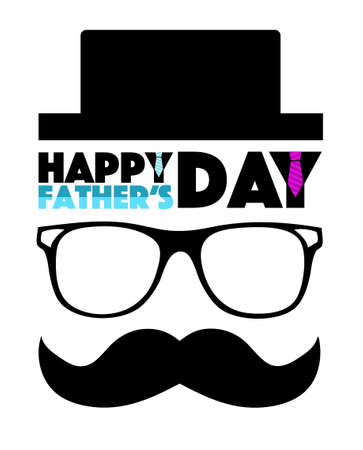Happy Fathers day hat, glasses and mustache illustration design isolated over white