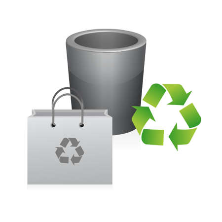 recycle bag and trash illustration design over a white background